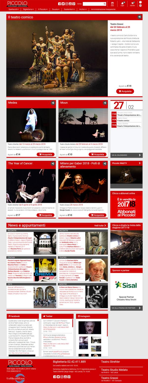 La home page del Piccolo teatro di Milano