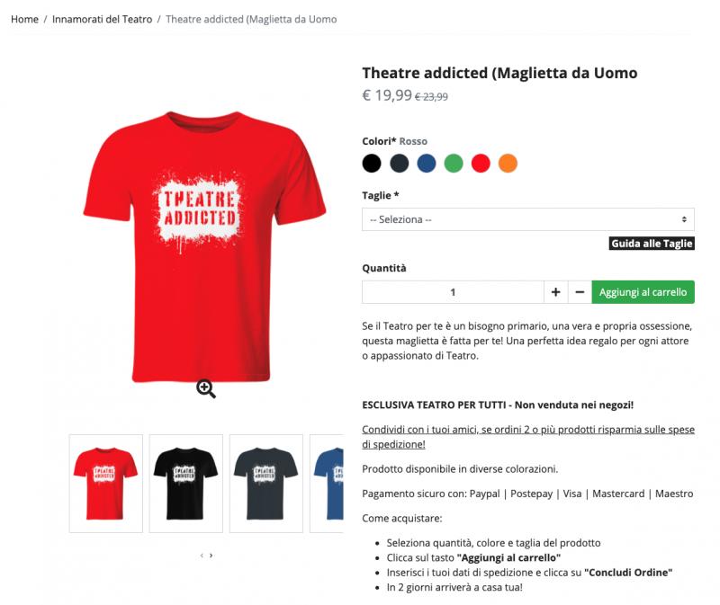Theatre Addicted, maglietta da uomo
