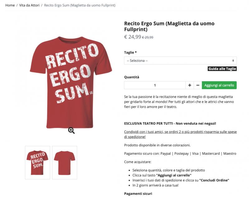 """maglietta Full-Print """"Recito Ergo Sum"""""""